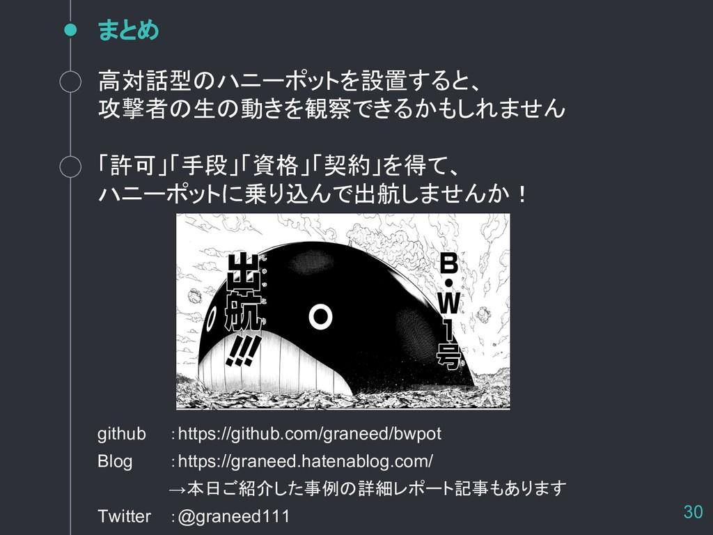 まとめ 30 github :https://github.com/graneed/bwpot...