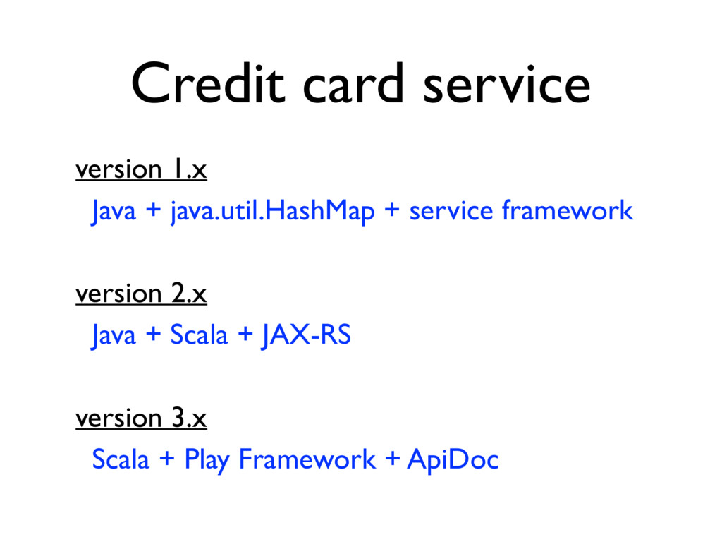 Credit card service version 1.x Java + java.uti...