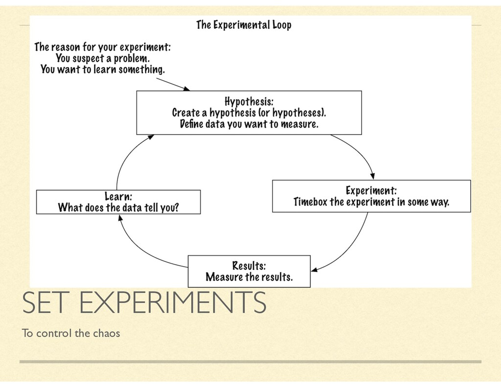 SET EXPERIMENTS To control the chaos