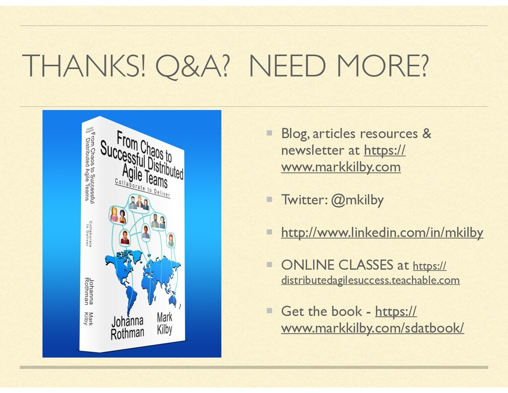 THANKS! Q&A? NEED MORE? Blog, articles resource...