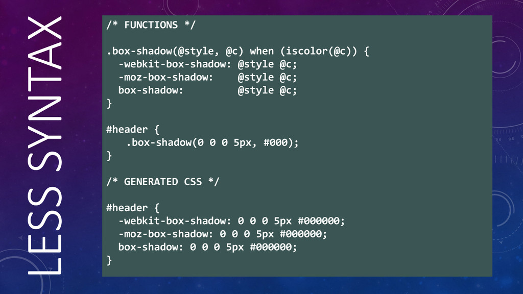 LESS  SYNTAX