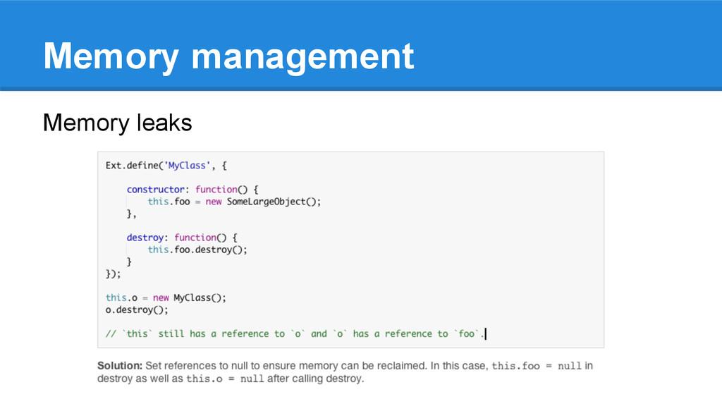 Memory management Memory leaks