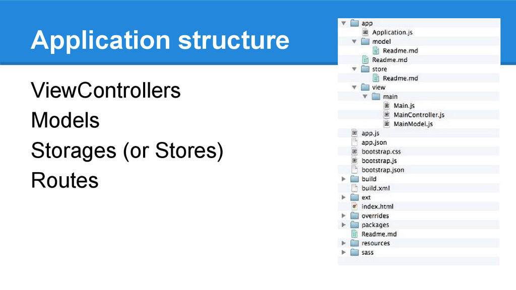 Application structure ViewControllers Models St...