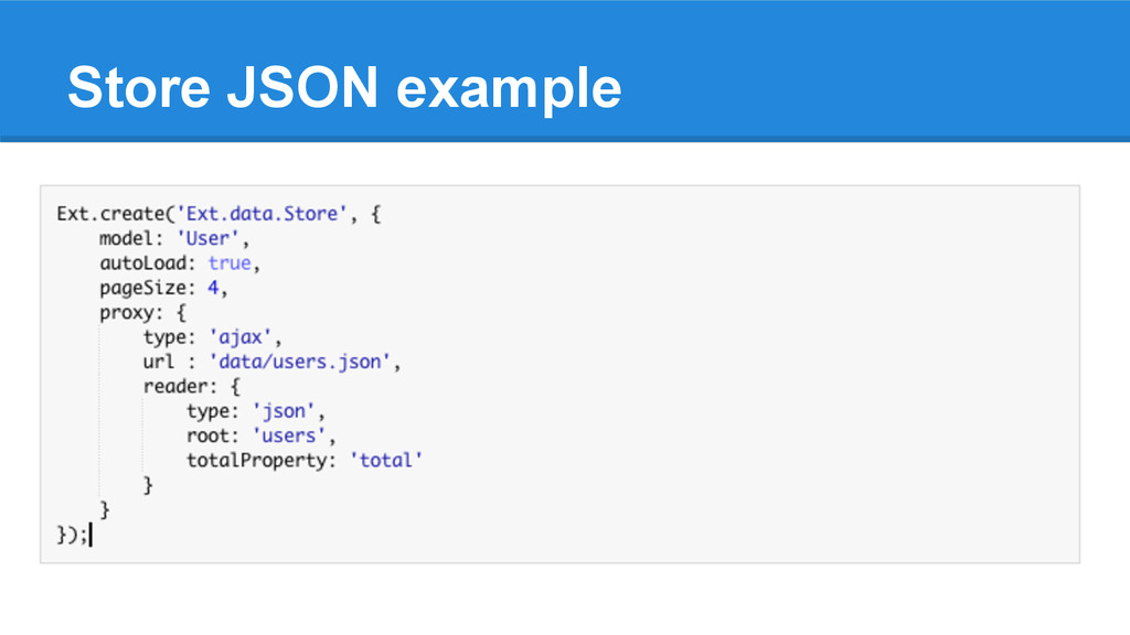 Store JSON example