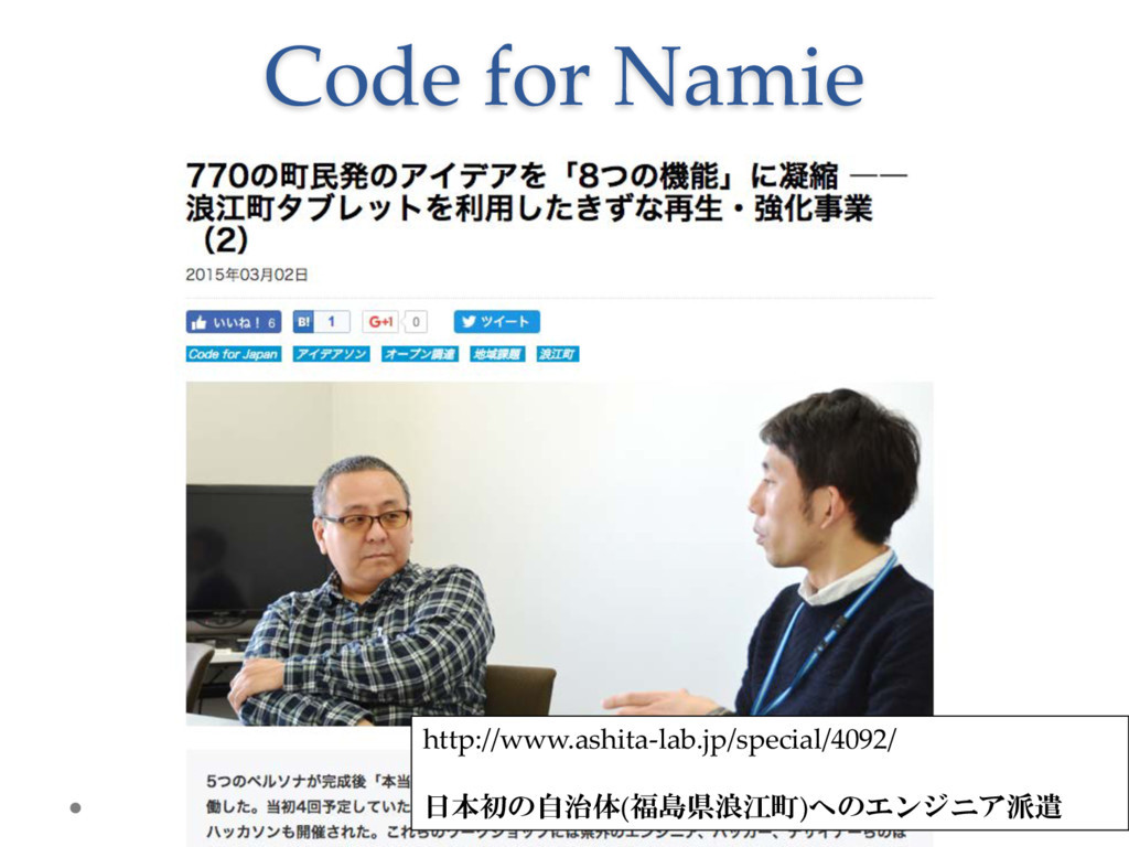 Code  for  Namie http://www.ashita-­‐‑lab.jp/sp...