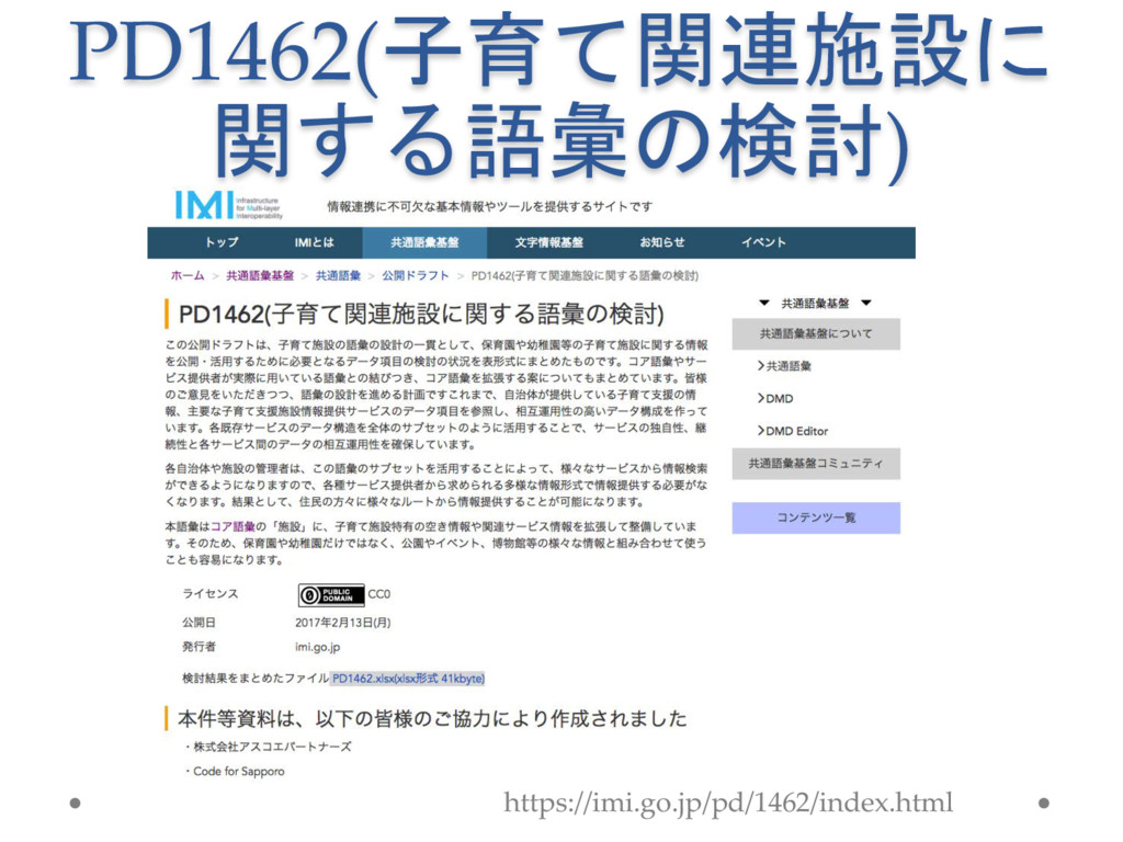 PD1462(子育て関連施設に 関する語彙の検討) https://imi.go.jp/pd/...