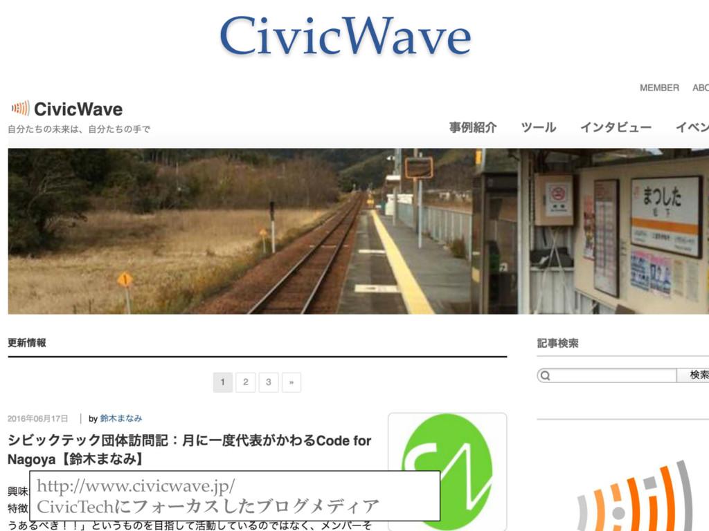 CivicWave http://www.civicwave.jp/ CivicTechにフォ...