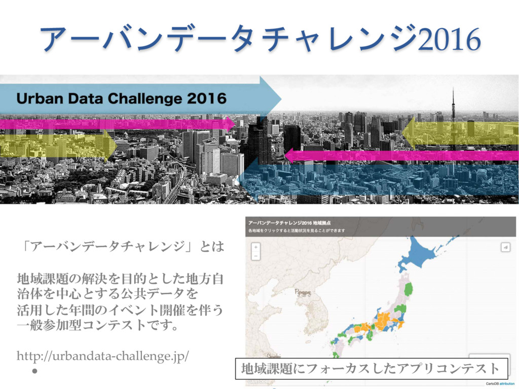 アーバンデータチャレンジ2016 「アーバンデータチャレンジ」とは 地域課題の解決を目的とした...