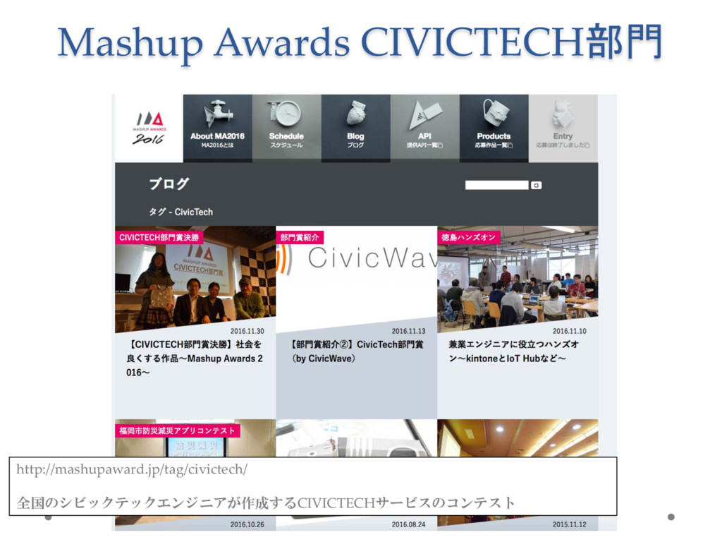 Mashup Awards  CIVICTECH部門 http://mashupaward.j...