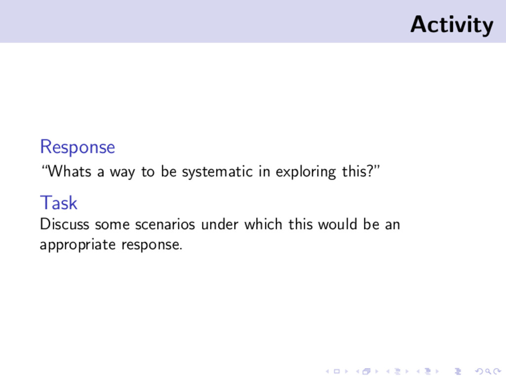 "Activity Response ""Whats a way to be systematic..."
