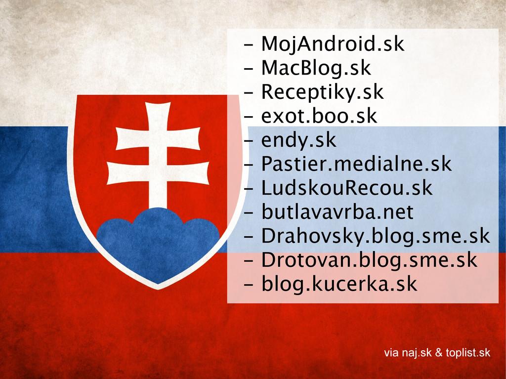 - MojAndroid.sk - MacBlog.sk - Receptiky.sk - e...