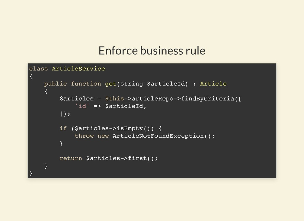 Enforce business rule class ArticleService { pu...