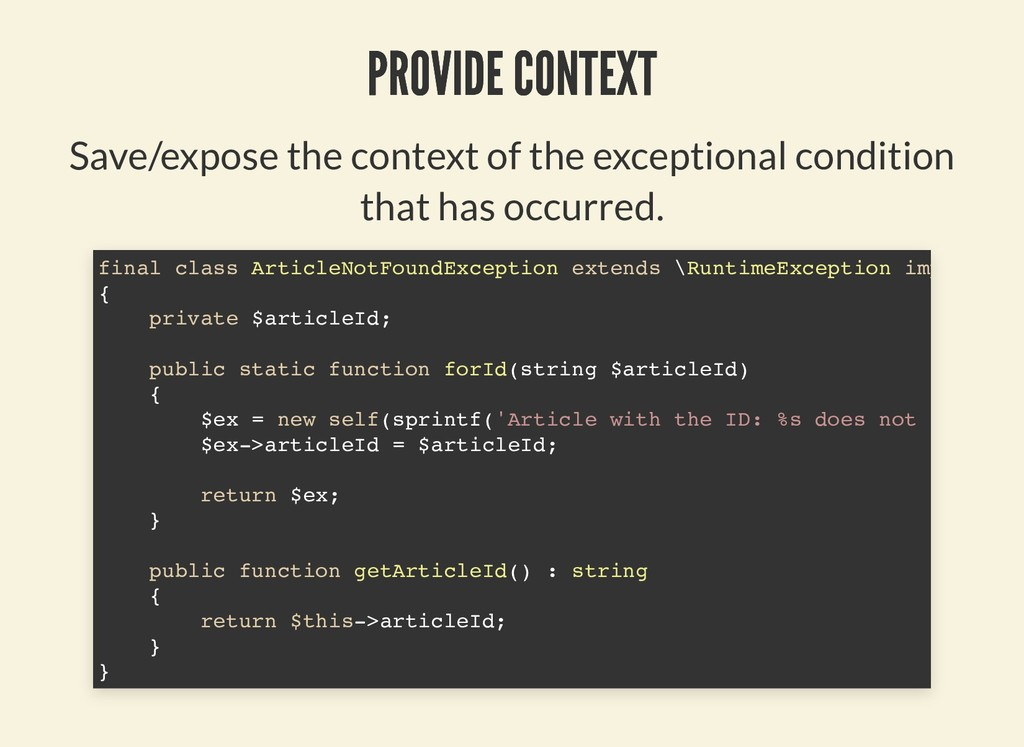 PROVIDE CONTEXT PROVIDE CONTEXT Save/expose the...