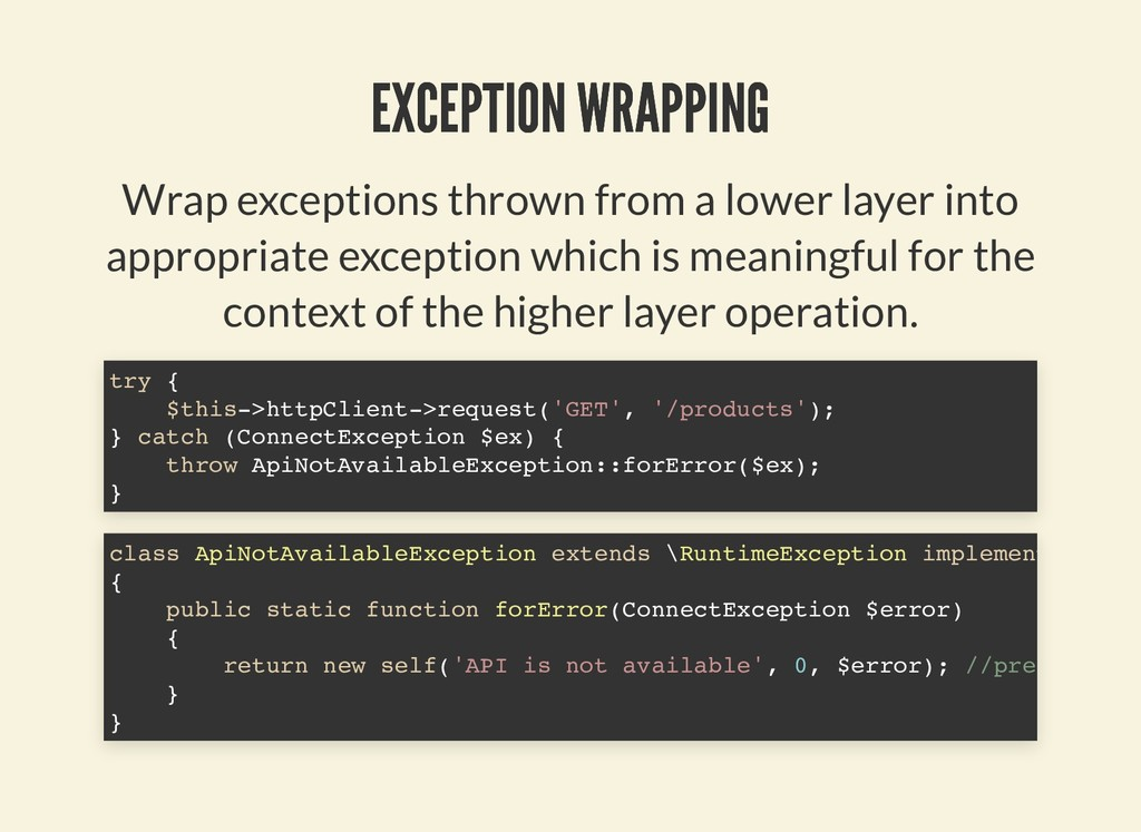 EXCEPTION WRAPPING EXCEPTION WRAPPING Wrap exce...