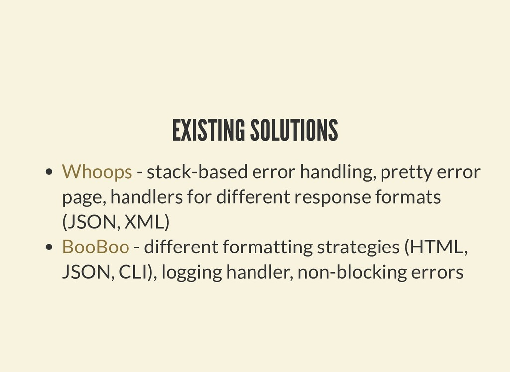 EXISTING SOLUTIONS EXISTING SOLUTIONS - stack-b...