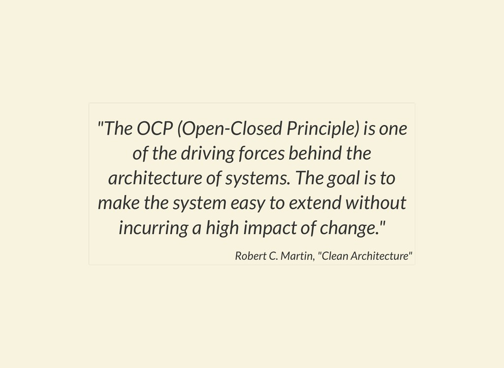 """The OCP (Open-Closed Principle) is one of the ..."