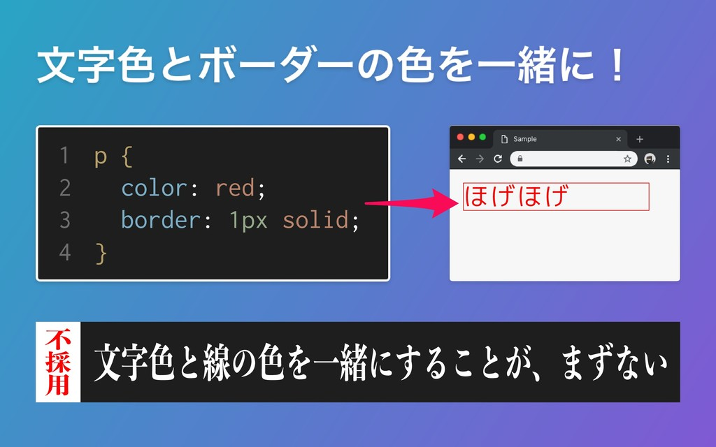 1 2 3 4 p { color: red; border: 1px solid; } ほげ...