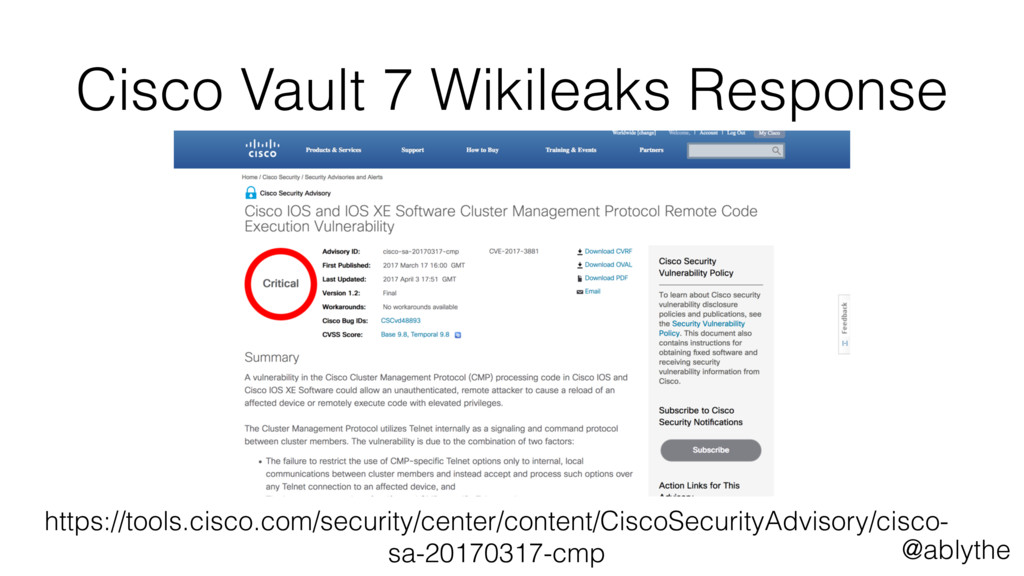 @ablythe Cisco Vault 7 Wikileaks Response https...