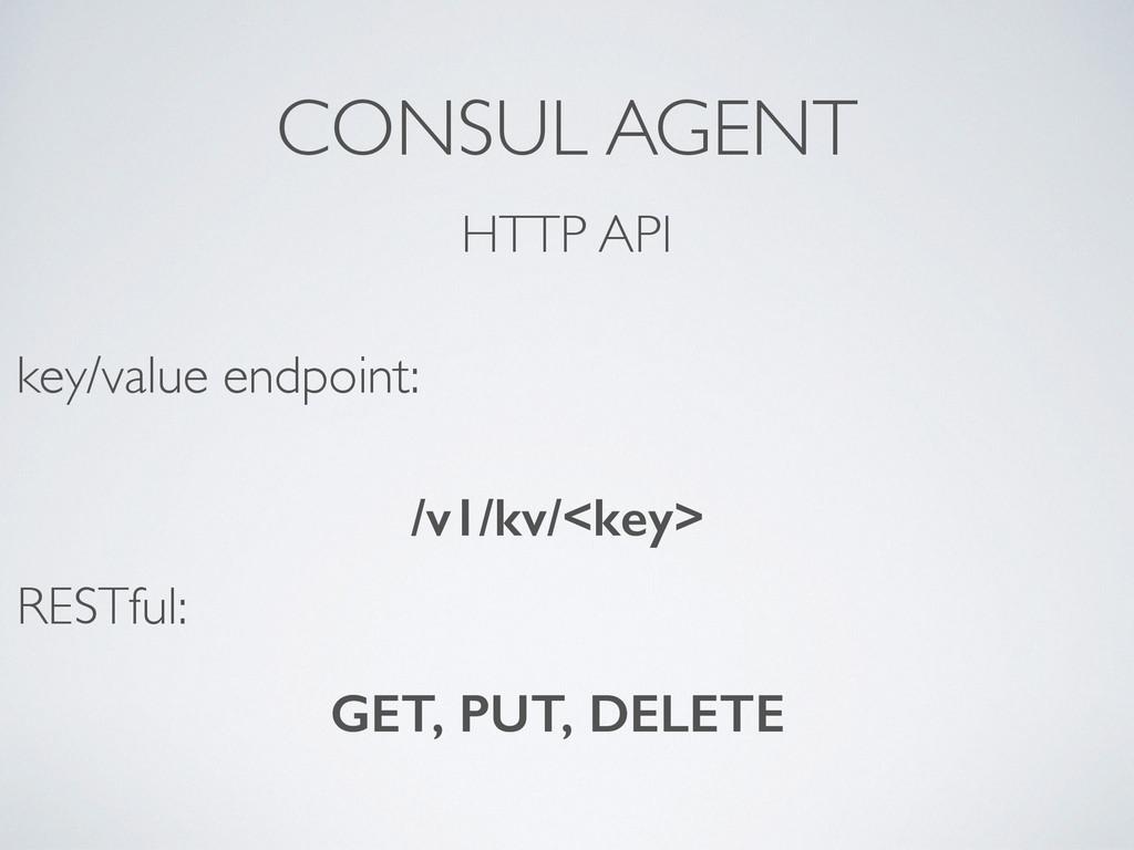 CONSUL AGENT HTTP API /v1/kv/<key> key/value en...