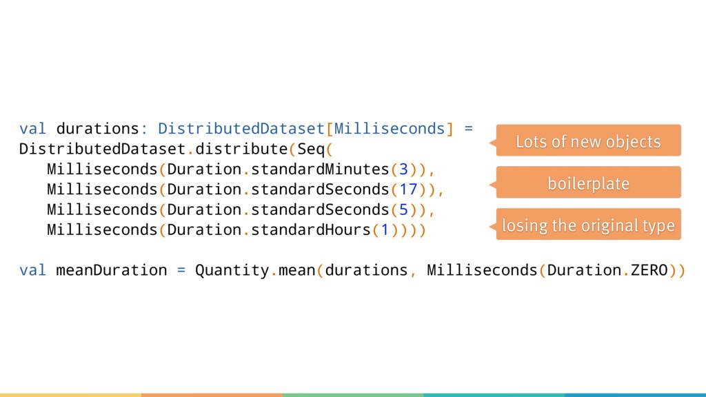 val durations: DistributedDataset[Milliseconds]...