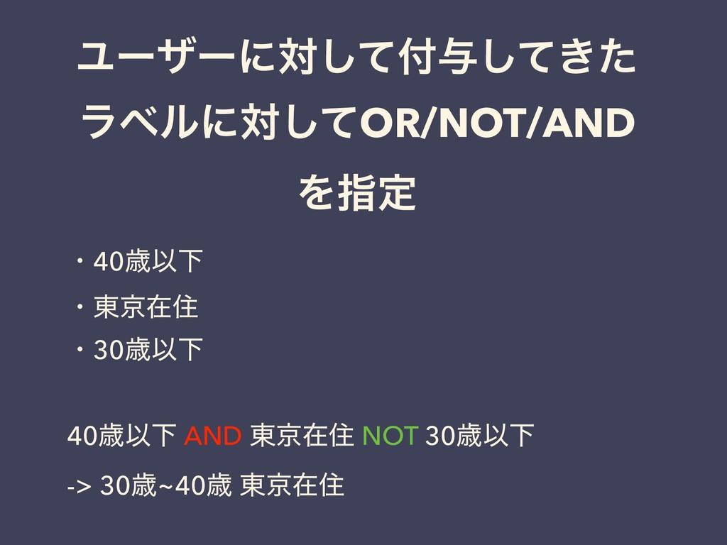 Ϣʔβʔʹରͯ͠༩͖ͯͨ͠ ϥϕϧʹରͯ͠OR/NOT/AND Λࢦఆ ɾ40ࡀҎԼ ɾ౦ژ...
