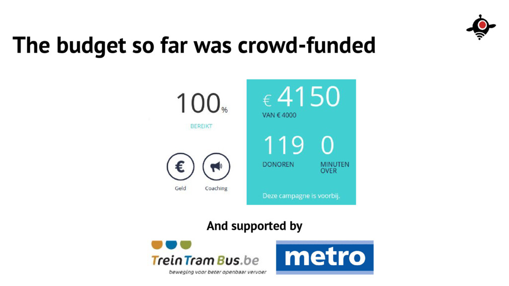 The budget so far was crowd-funded And supporte...