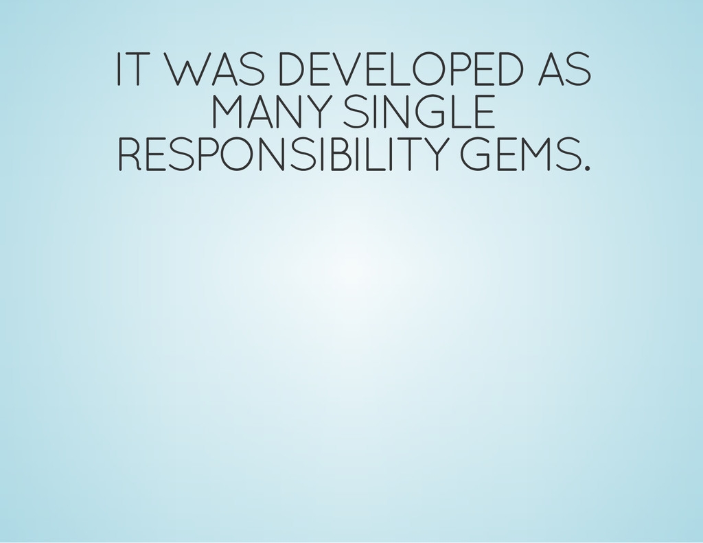 IT WAS DEVELOPED AS MANY SINGLE RESPONSIBILITY ...