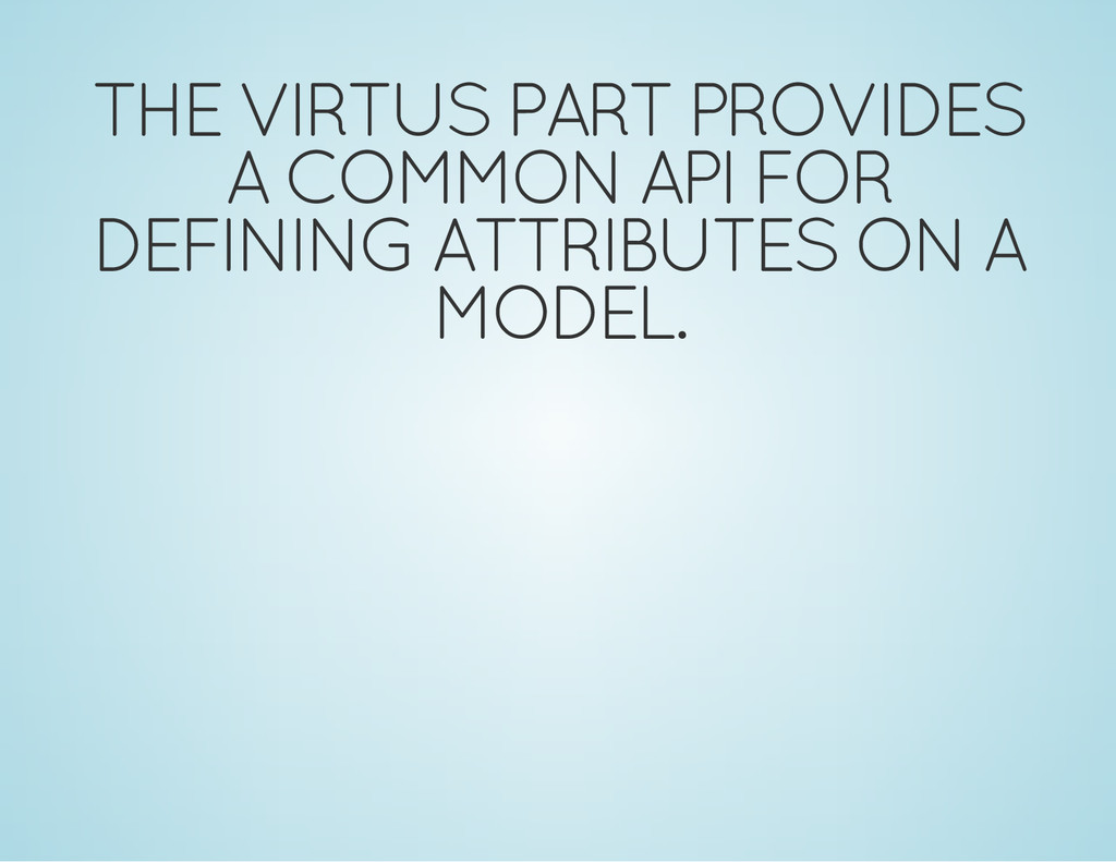 THE VIRTUS PART PROVIDES A COMMON API FOR DEFIN...