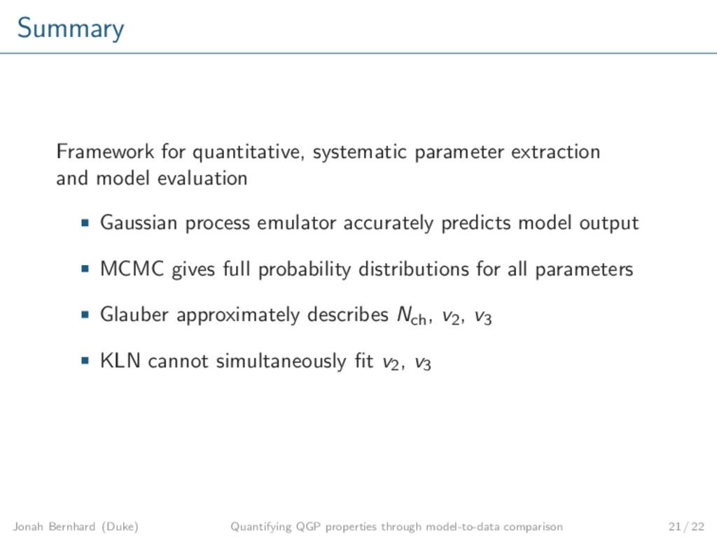 Summary Framework for quantitative, systematic ...