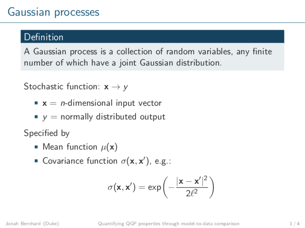 Gaussian processes Definition A Gaussian process...