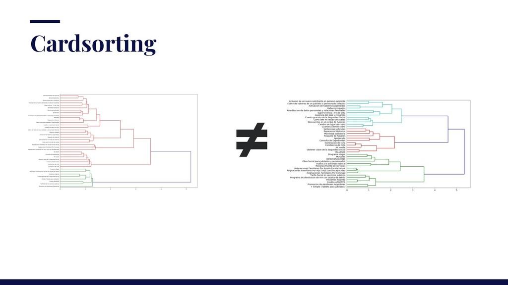 ≠ Cardsorting