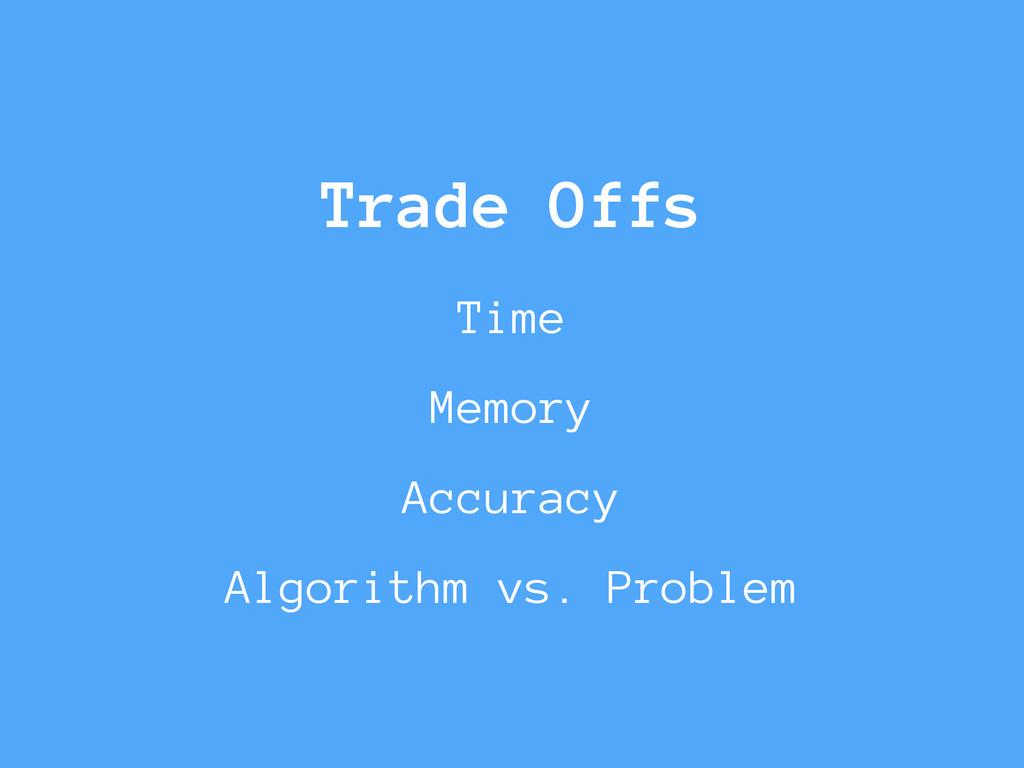 Trade Offs Time Memory Accuracy Algorithm vs. P...