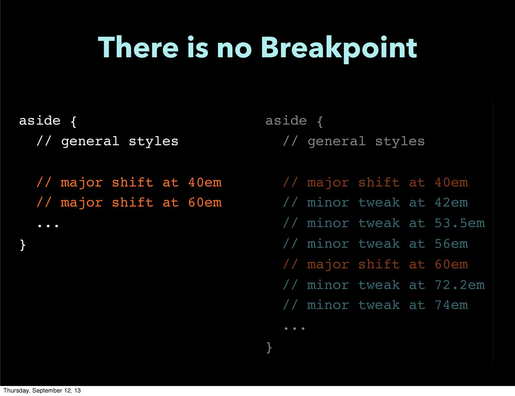 There is no Breakpoint aside { // general style...