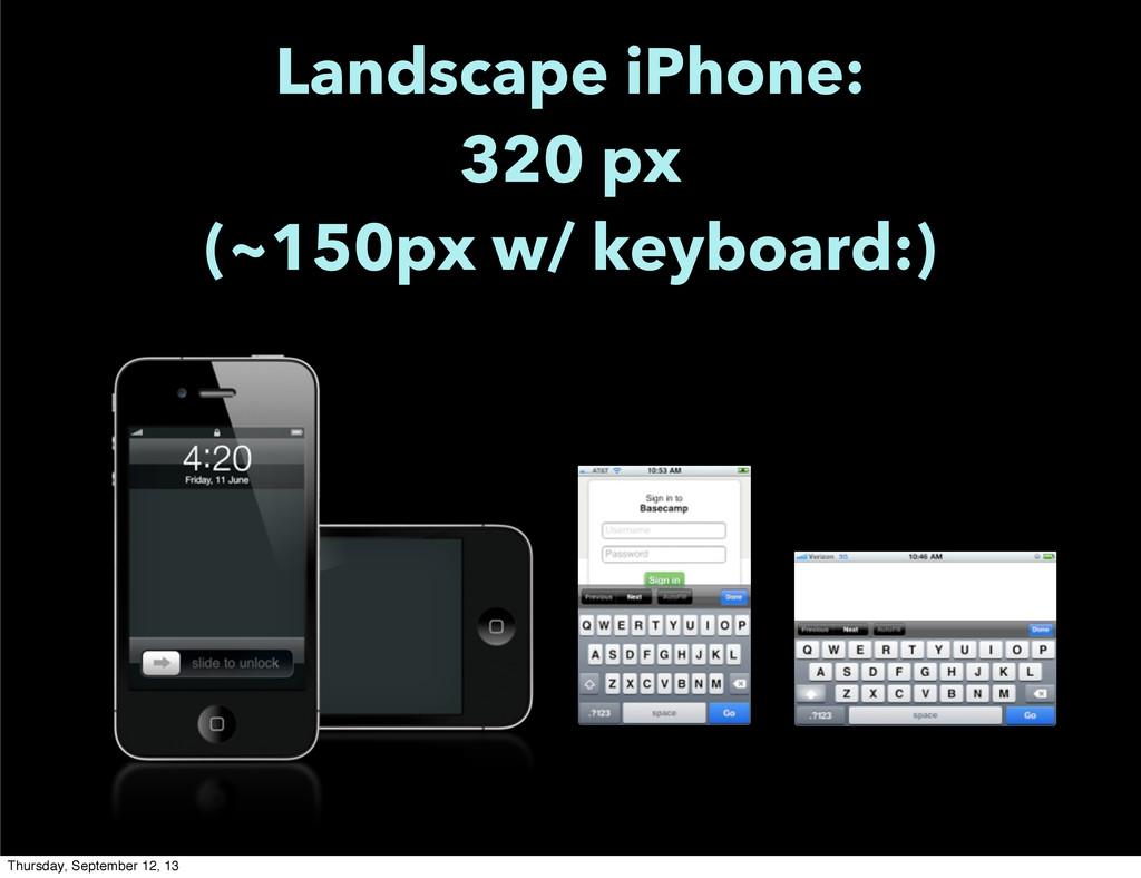 Landscape iPhone: 320 px (~150px w/ keyboard:) ...