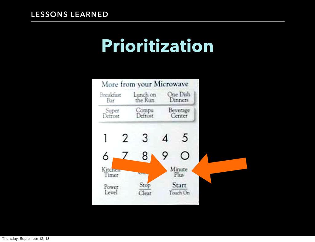 LESSONS LEARNED Prioritization Thursday, Septem...