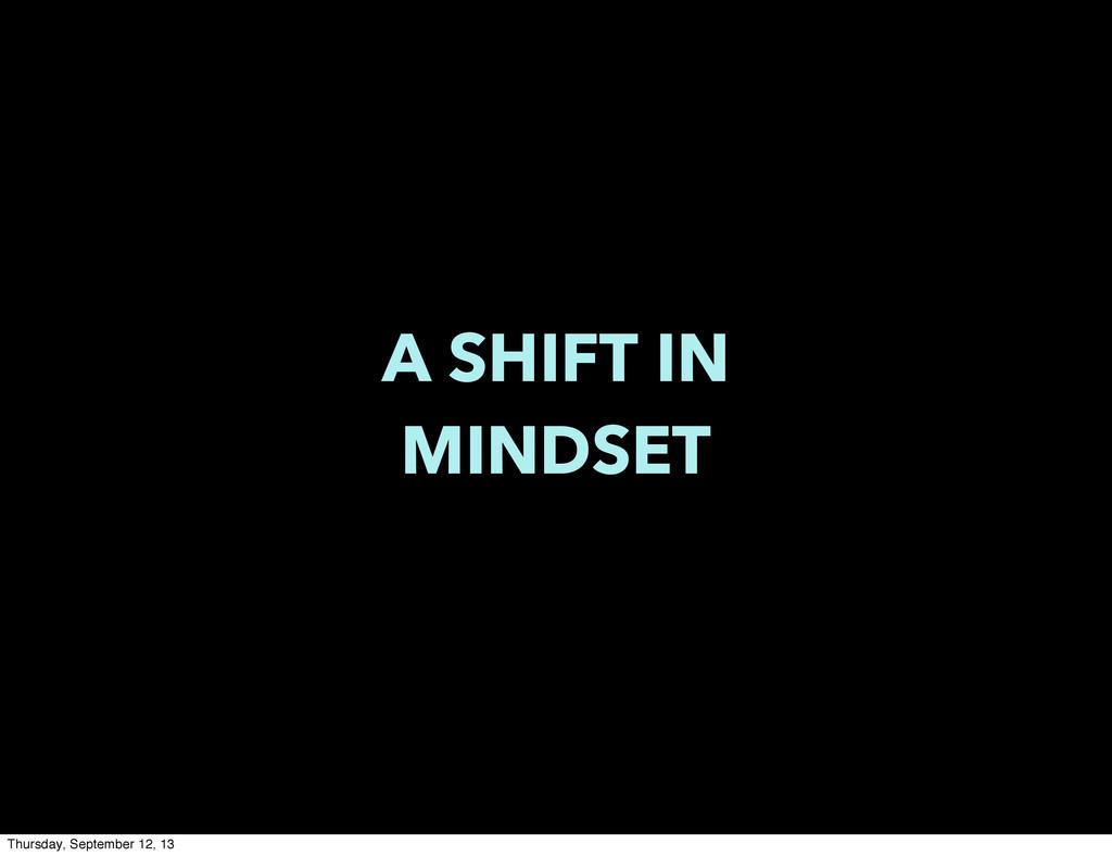A SHIFT IN MINDSET Thursday, September 12, 13