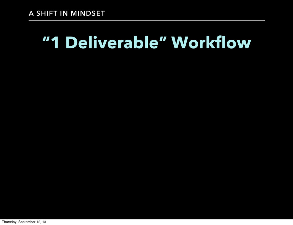 """A SHIFT IN MINDSET """"1 Deliverable"""" Workflow Thu..."""
