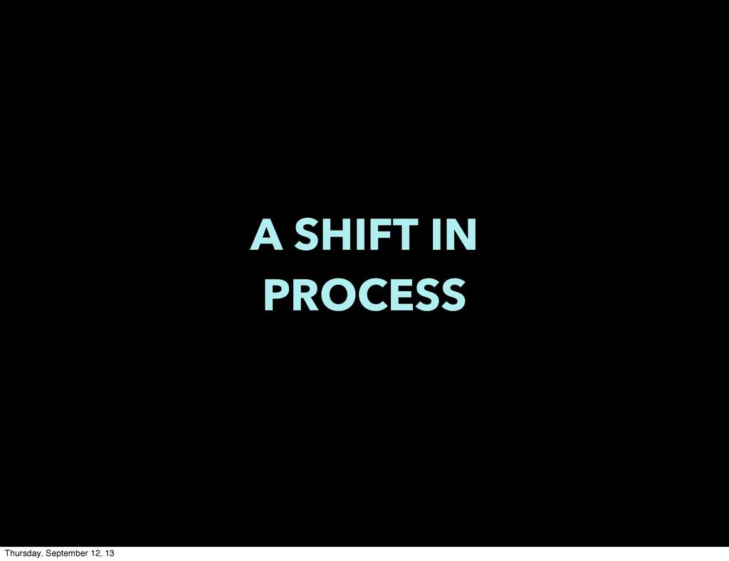 A SHIFT IN PROCESS Thursday, September 12, 13