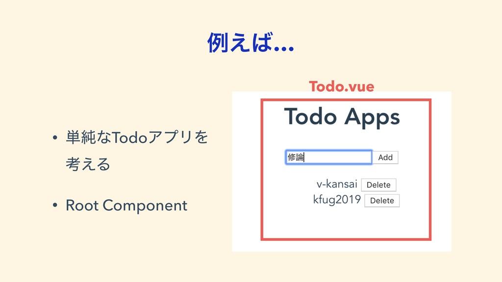 ྫ͑… • ୯७ͳTodoΞϓϦΛ ߟ͑Δ • Root Component Todo.v...