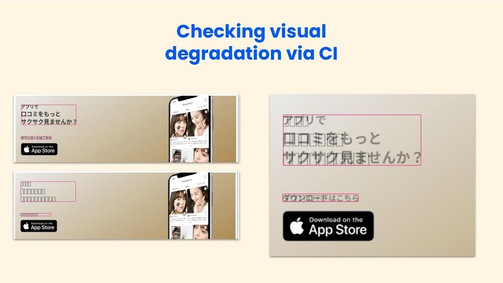 Checking visual degradation via CI