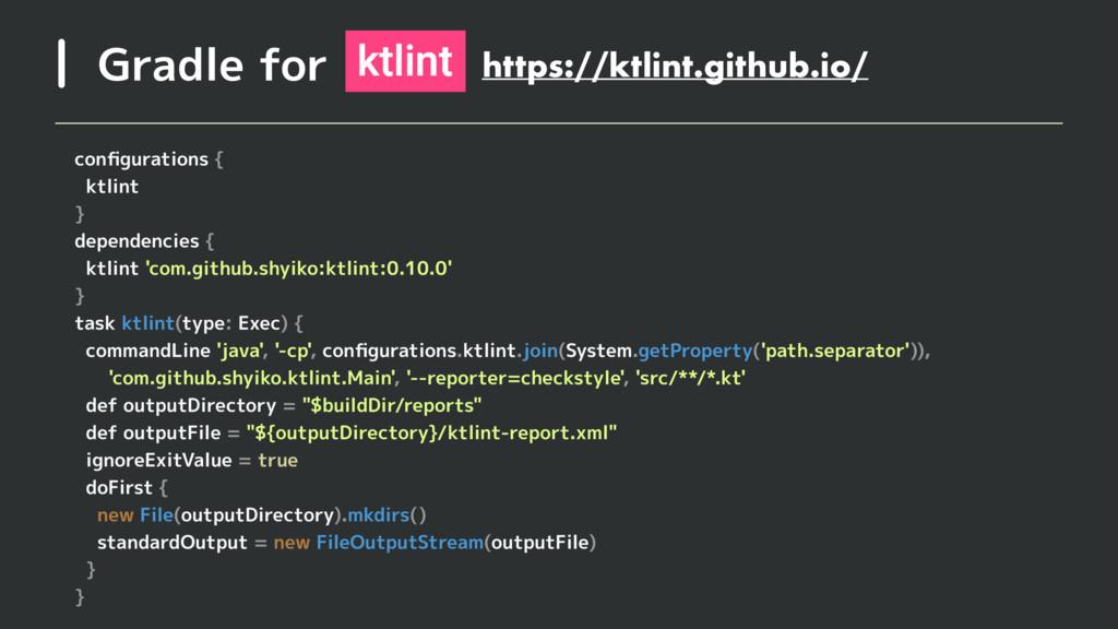 Gradle for configurations { ktlint } dependencie...