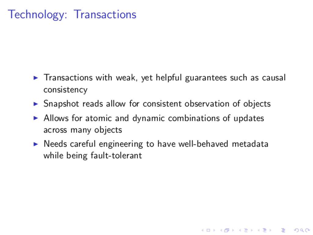 Technology: Transactions Transactions with weak...