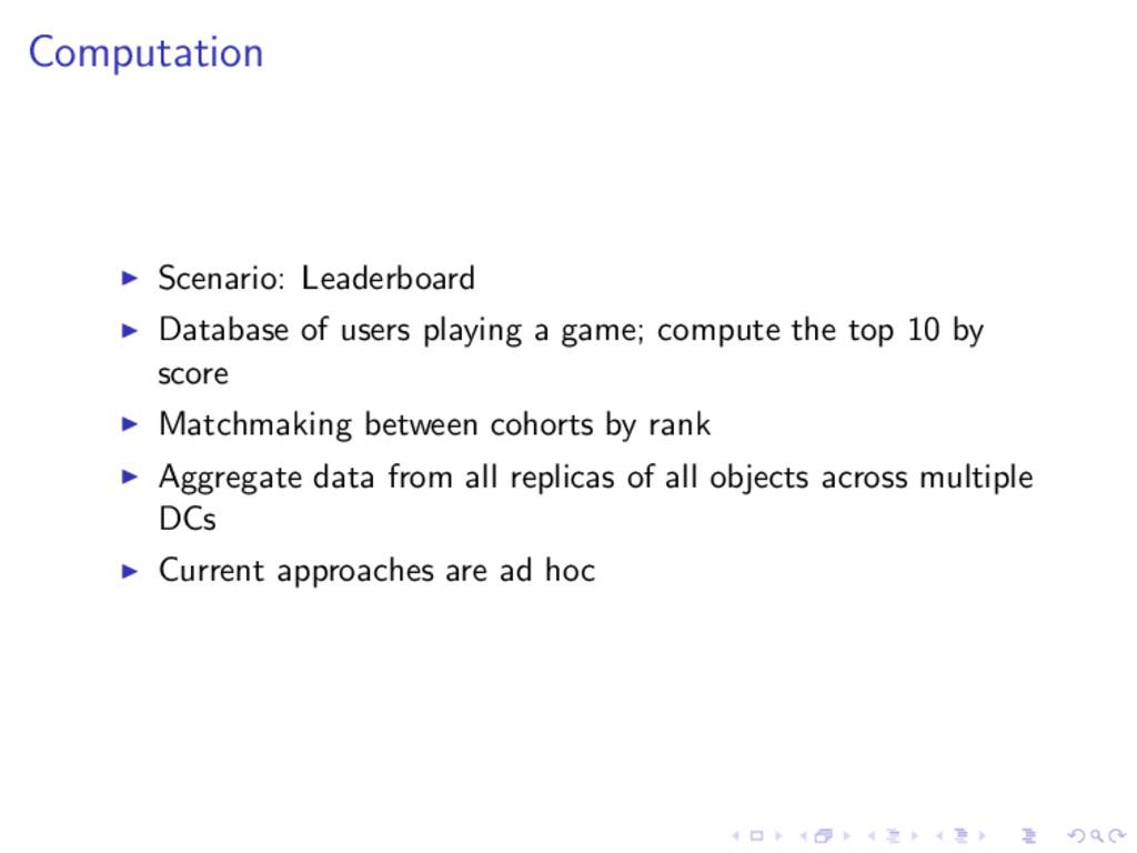 Computation Scenario: Leaderboard Database of u...