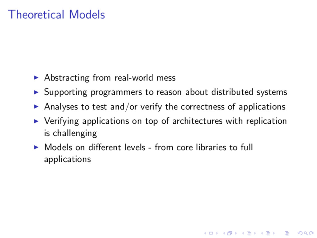 Theoretical Models Abstracting from real-world ...