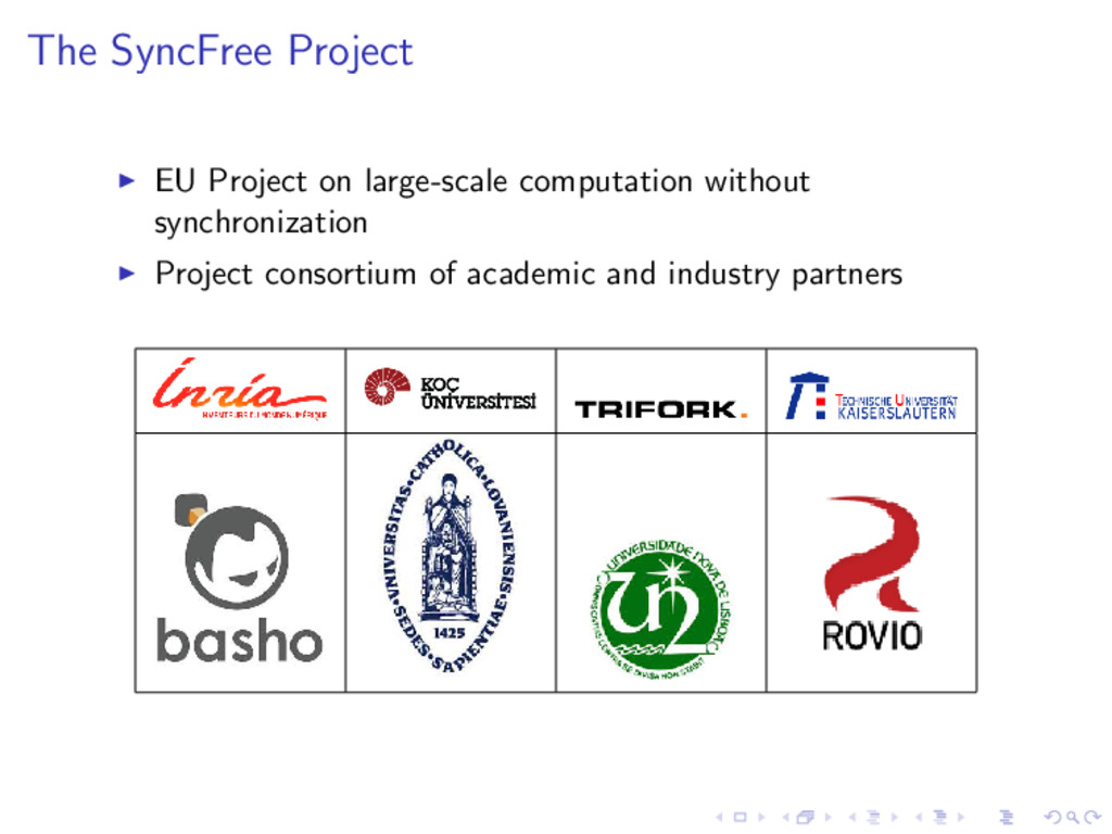 The SyncFree Project EU Project on large-scale ...