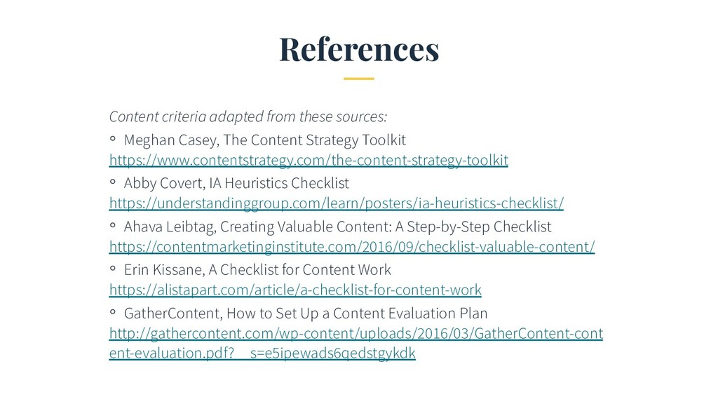 References Content criteria adapted from these ...