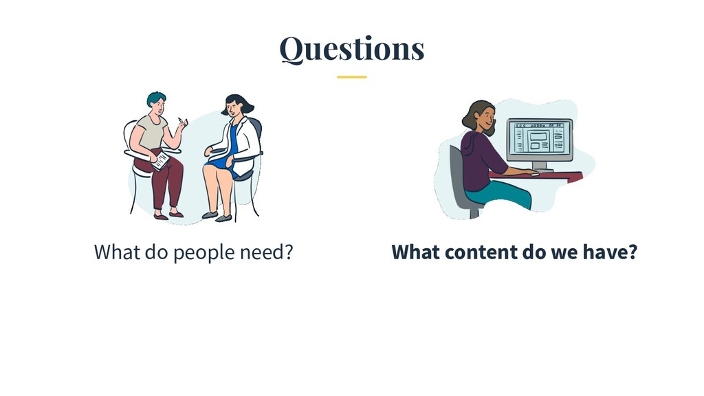 Questions What do people need? What content do ...