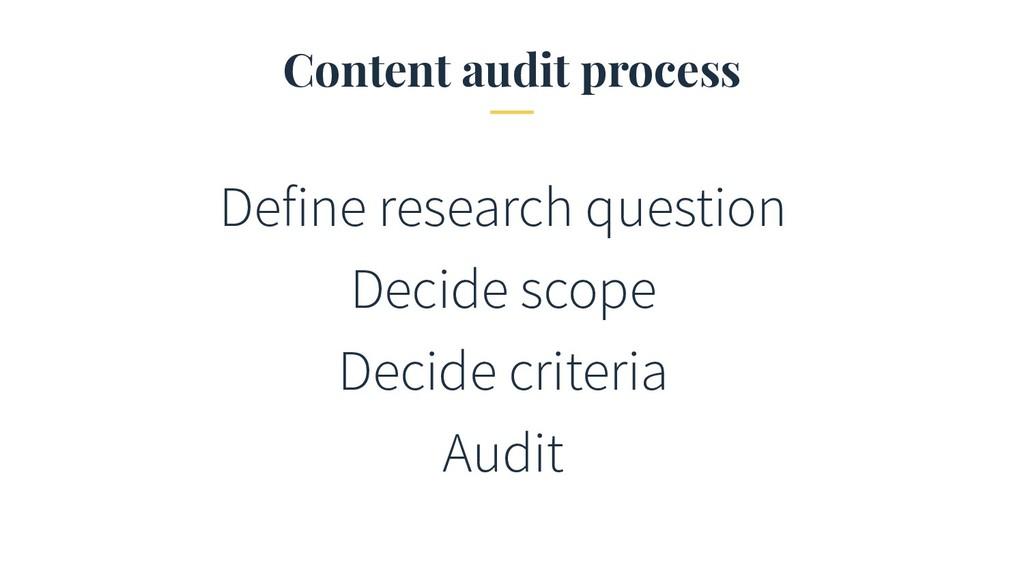 Content audit process Define research question ...