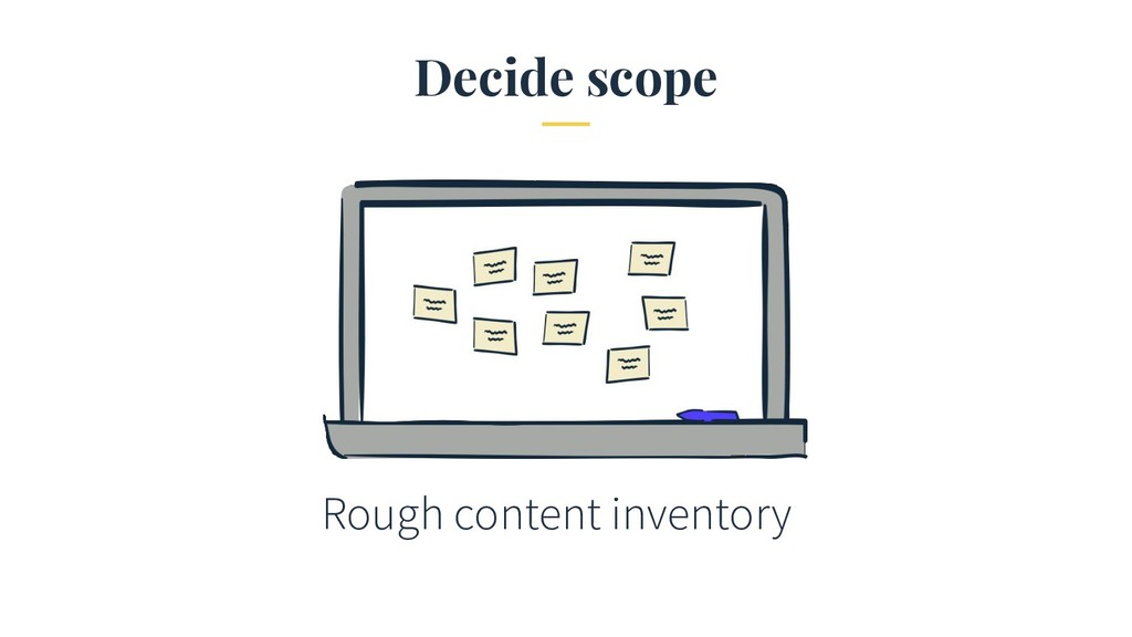 Decide scope Rough content inventory