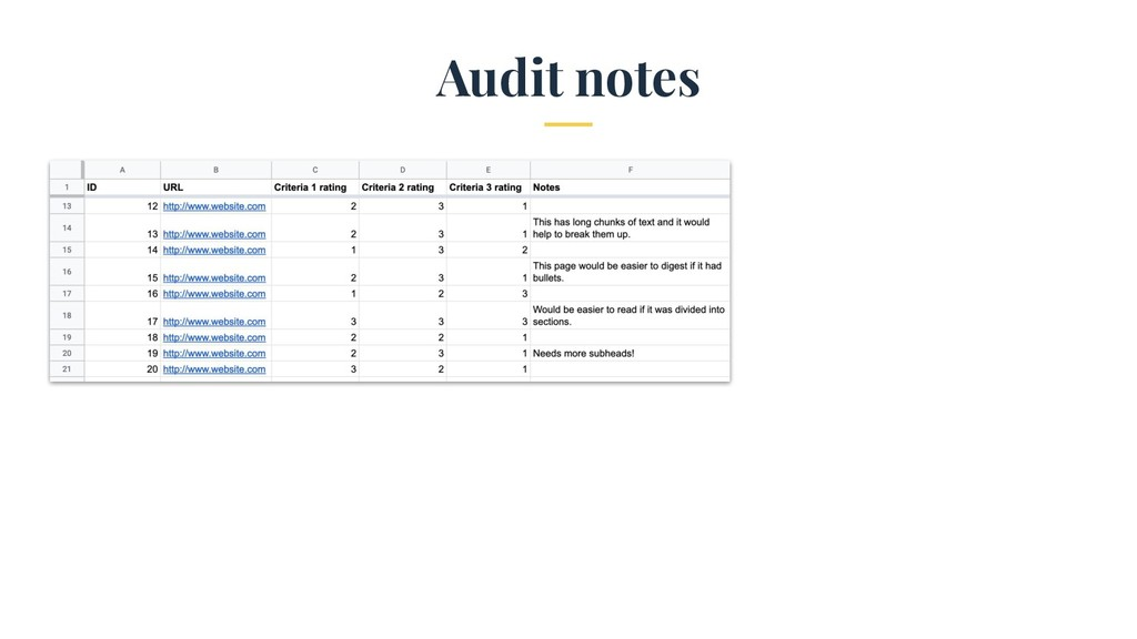 Audit notes